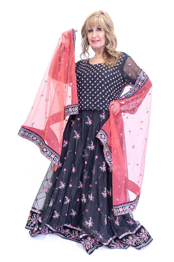 Maia B. Desinger Black Floral Net Lengha - Women's  South Asian Fashion - Formal Wear