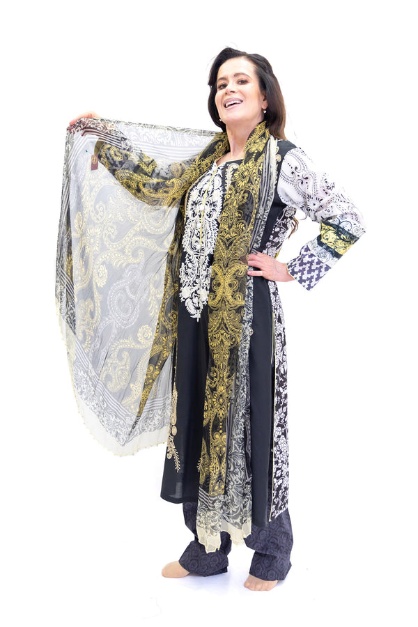 Black & White Cotton Salwar Kameez - Suit - South Asian Fashion