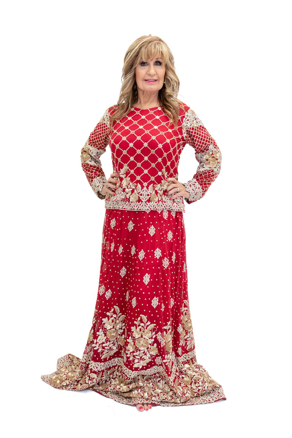Red Bridal Lengha with Gold Embroidery and Beading