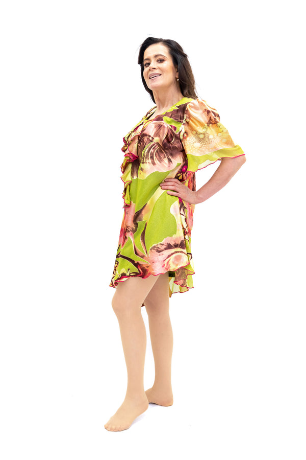 Green Floral Print Dress - South Asian Fashion & Unique Home Decor
