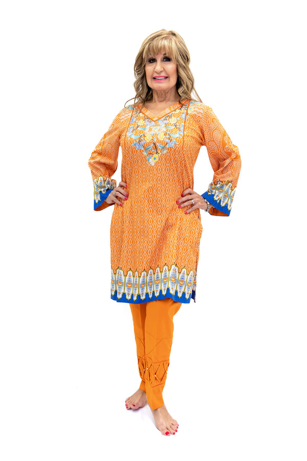 Orange & Blue Cotton Salwar Kameez - Suit - South Asian Fashion