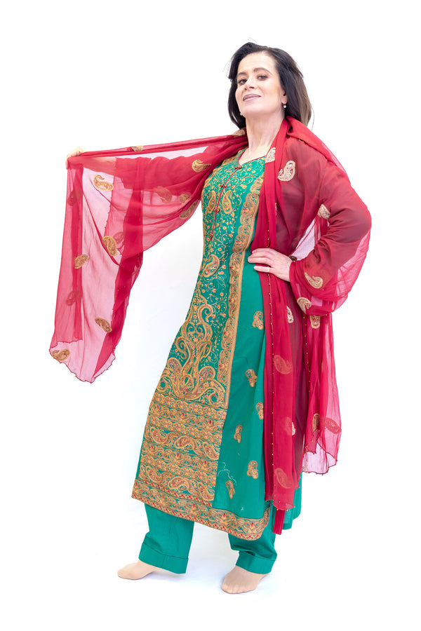Green Chiffon Salwar Kameez - Motifz Suit - South Asian Formal Wear