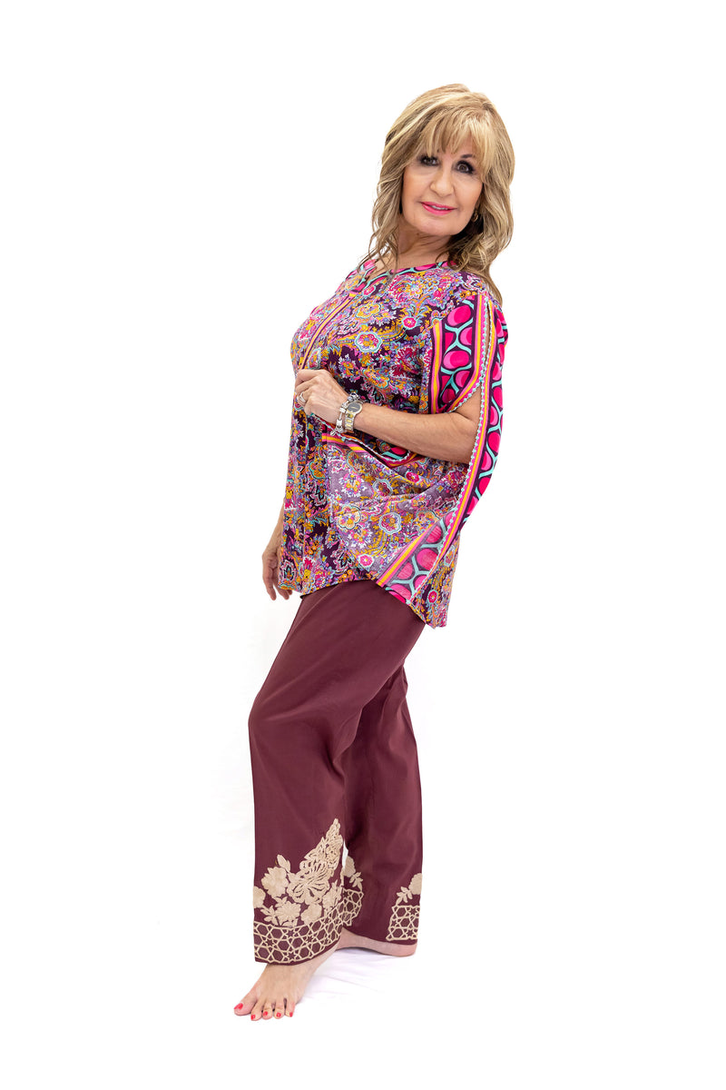 Magenta Silk Kurti - Women's Shirt - South Asian Fashion