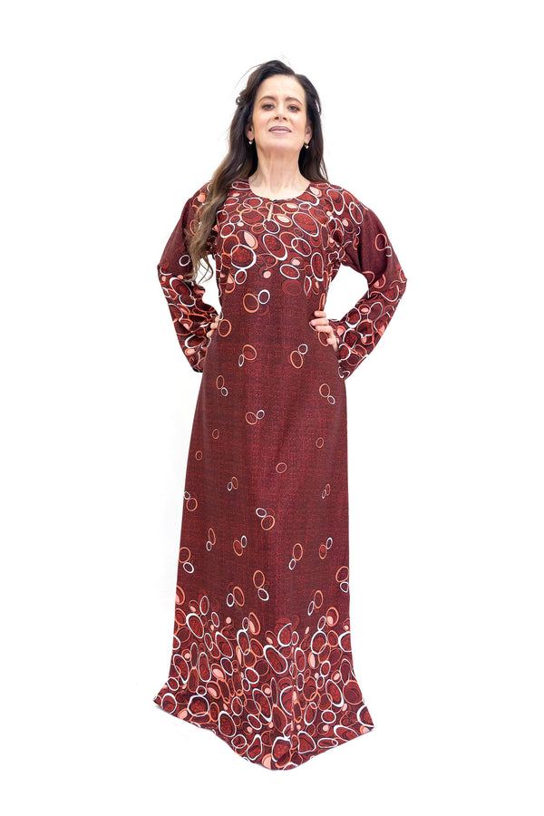 Maroon Long Sleeve Dress - South Asian Casual Wear