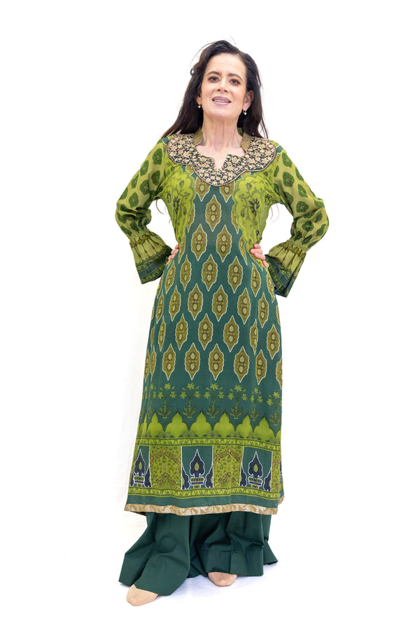 Green Cotton Salwar Kameez - Suit - Maria b. - South Asian Fashion