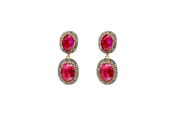 Turkish Silver Ruby Red Stones Dangle Earrings - Gemstone Jewelry