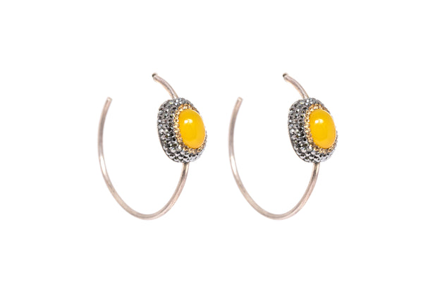 Yellow Gemstone Hoop Earrings - Top Quality Traditional Jewelry &  Accessories