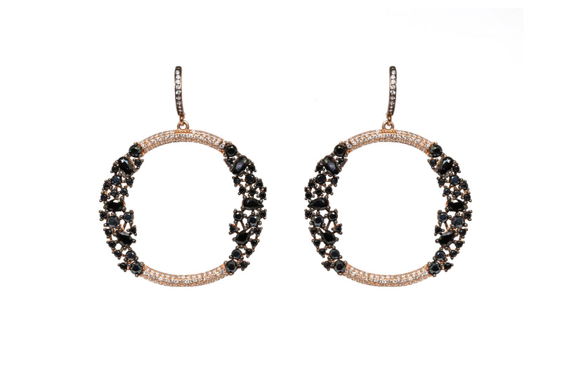 Black Stone & Turkish Silver Hoop Earrings - South Asian Jewelry