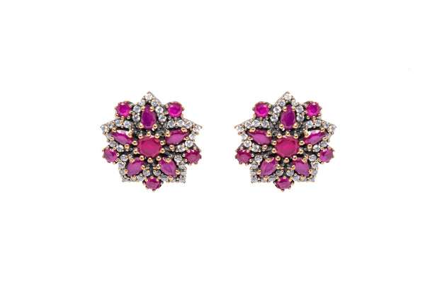 Turkish Silver Blossoming Stud Earrings - Glamorous & Classy Jewelry