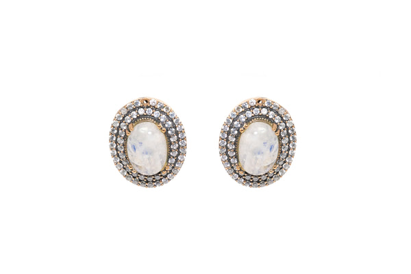 White & Clear Stone Turkish Silver Earrings - South Asian Fashion & Jewelry