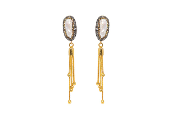 Pearl Dangle Earrings with Gold Fringe - South Asian Jewelry