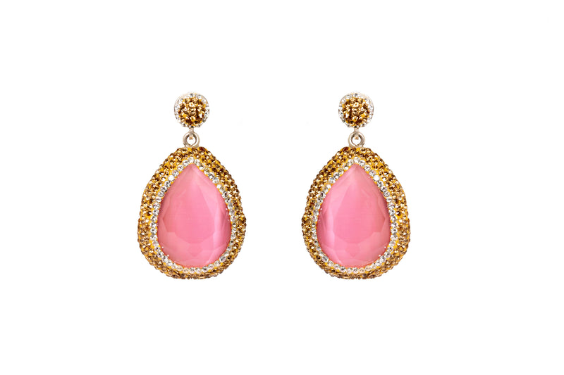 Large Pink Gemstone Dangle Earrings - High Quality Jewelry and Accessories