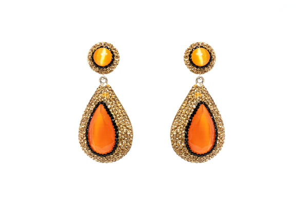 Turkish Silver & Orange Earrings - South Asian Gemstone Jewelry