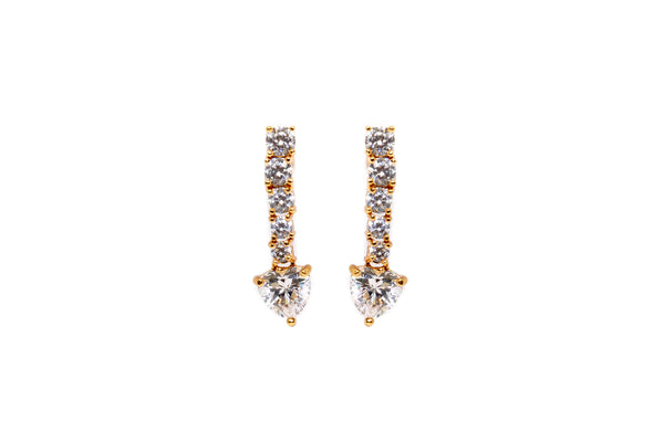 Gold Earrings with Sparkling Diamante Stones - South Asian Fashion