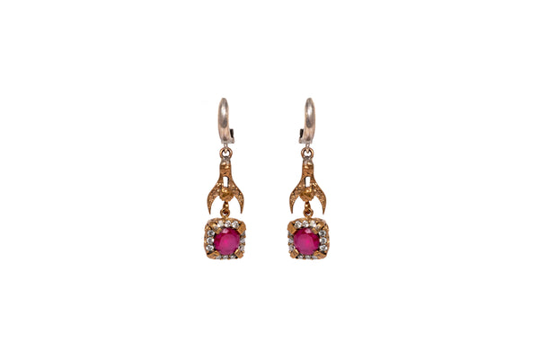Square Ruby Red Stone Dangle Earrings - South Asian Fashion