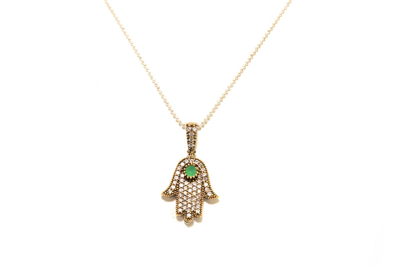 Hamsa Pendant Embellished With Diamante Stones - South Asian Jewelry