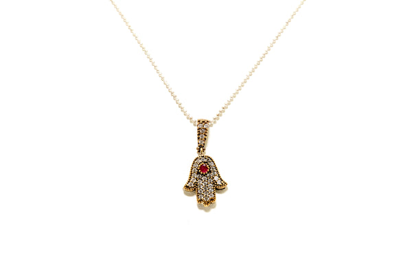 Small Turkish Silver Hamsa Pendant - South Asian Fashion & Jewelry