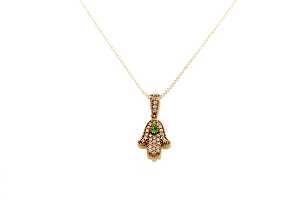 Turkish Silver Hamsa Pendant with Green Stones - South Asian Fashion