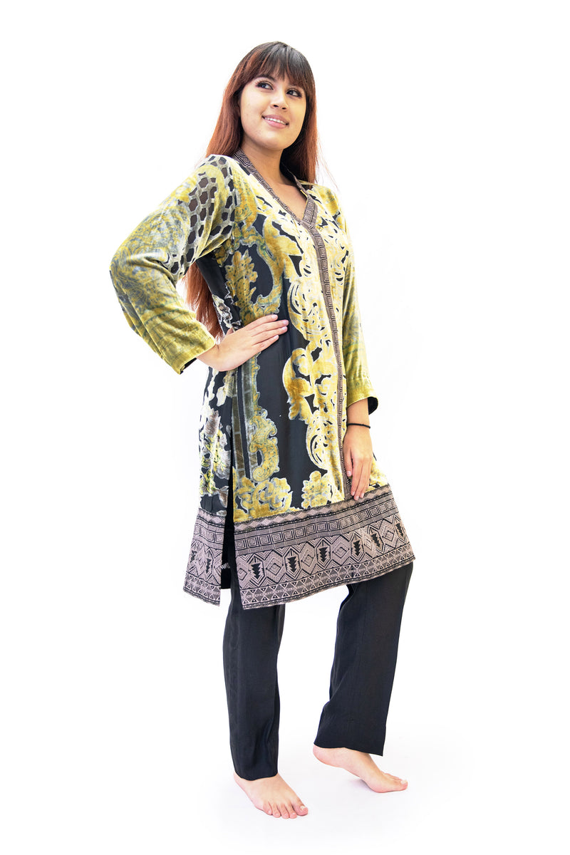 Black & Yellow Velvet Salwar Kameez - Gal Ahmed Designer Suit