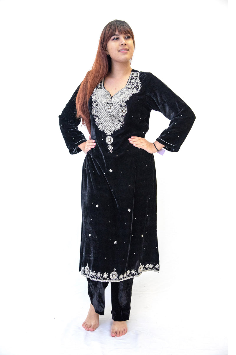 Black Velvet Embroidered Salwar Kameez - Suit - South Asian Fashion