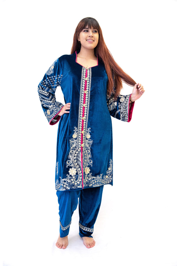 Blue Velvet Salwar Kameez - Suit - South Asian Fashion