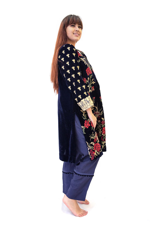 Blue Velvet Salwar Kameez - Iznik Suit - South Asian Formal Wear