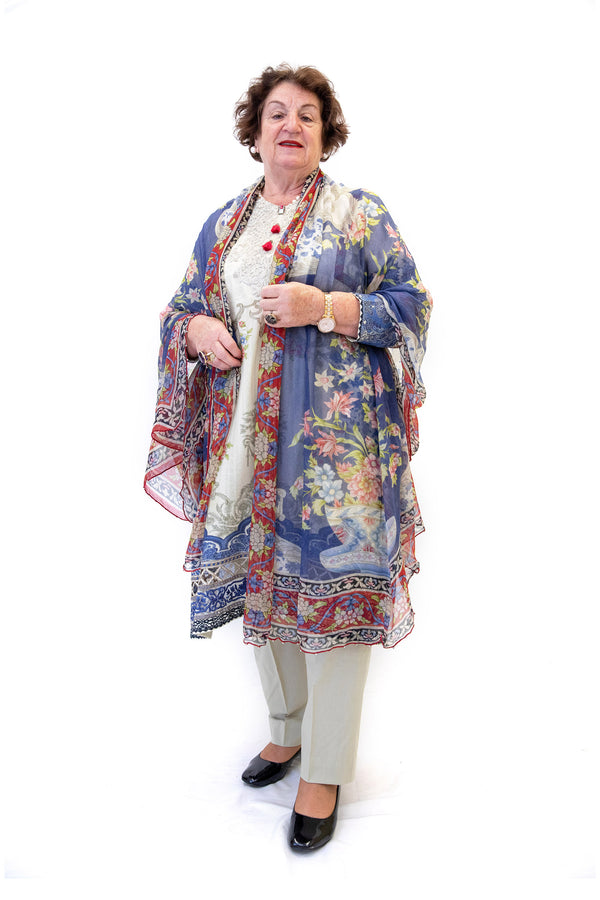 Beige Cotton Lawn Suit - Blue Print Designs - South Asian Casual Wear