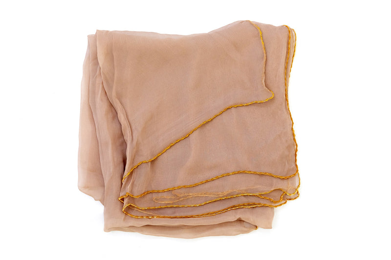 Beige & Gold Chiffon Dupatta - Scarf - South Asian Outerwear