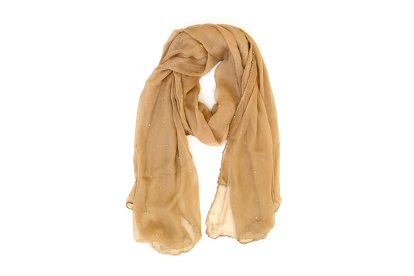 Tan Chiffon Dupatta - Scarf - South Asian Accessories & Outerwear