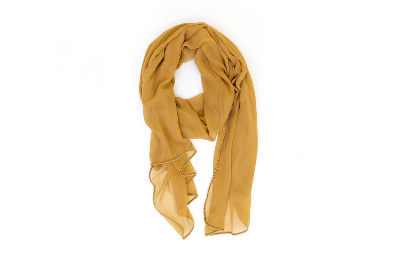 Beige Chiffon Dupatta - Scarf - South Asian Accessories