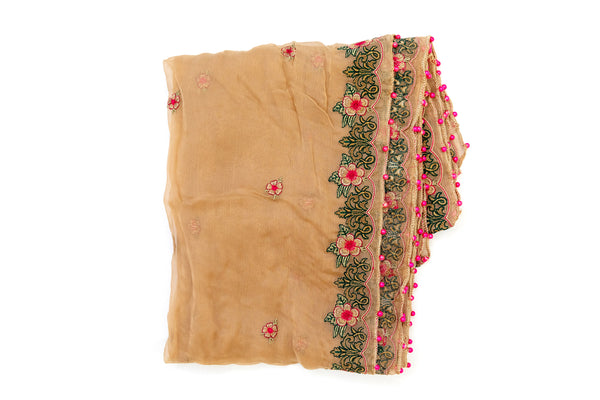 Beige Chiffon Embroidered Dupatta - Scarf - South Asian Accessories