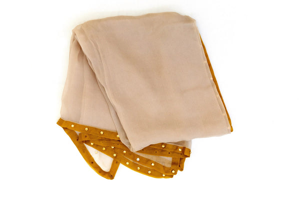 Brown & Gold Chiffon Dupatta - Scarf - South Asian Accessories