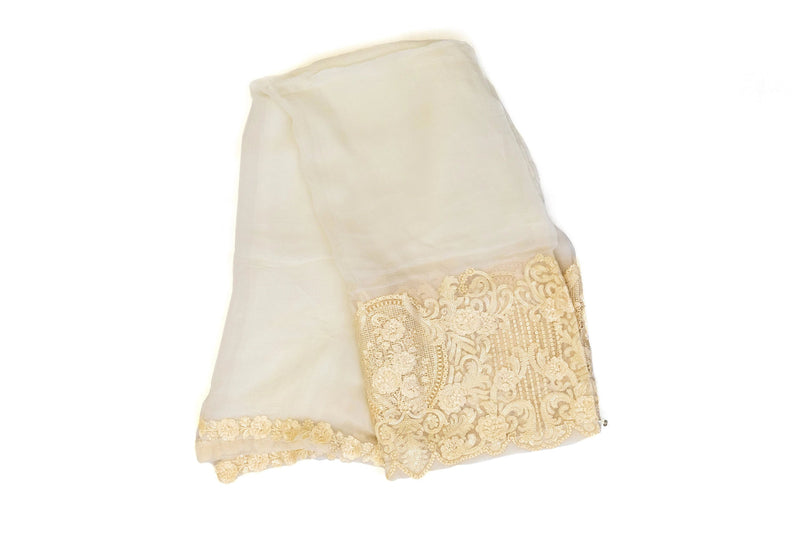 Off-White Chiffon Dupatta Scarf- South Asian Accessories & Outerwear