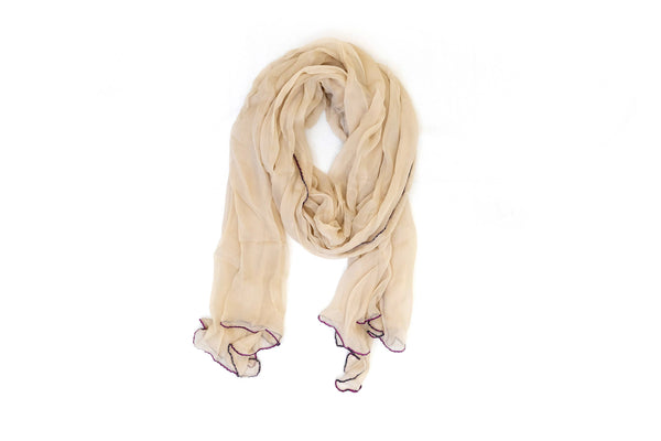 Beige & Purple Chiffon Dupatta - Scarf- South Asian Accessories & Outerwear
