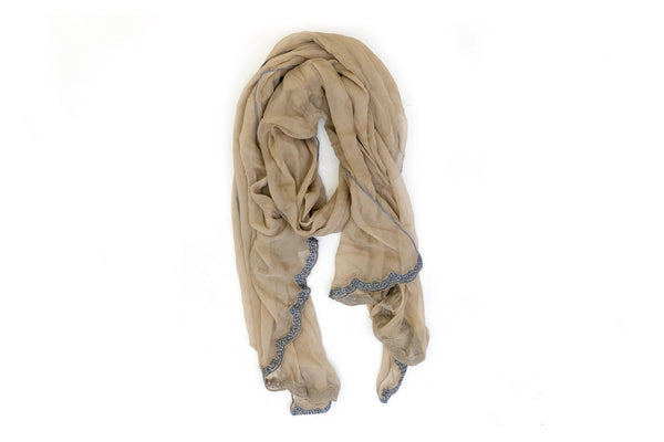 Grey-Brown Chiffon Dupatta -Scarf- South Asian Accessories & Outerwear