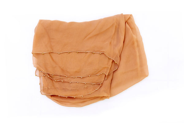 Orange-Brown Chiffon Dupatta - Scarf - South Asian Outerwear