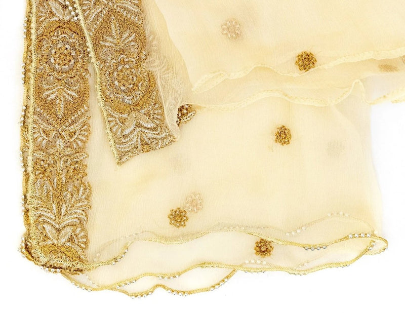 Creme Chiffon Embroidered Dupatta - Small Scarf - South Asian Fashions