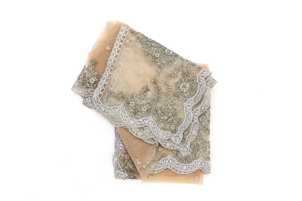 Beige Net Dupatta - Scarf - South Asian Accessories & Outerwear