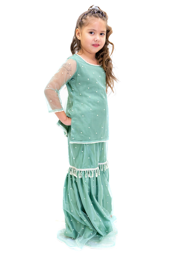 Teal Blue Silk Salwar Kameez girls suit- Trendz & Traditionz Boutique