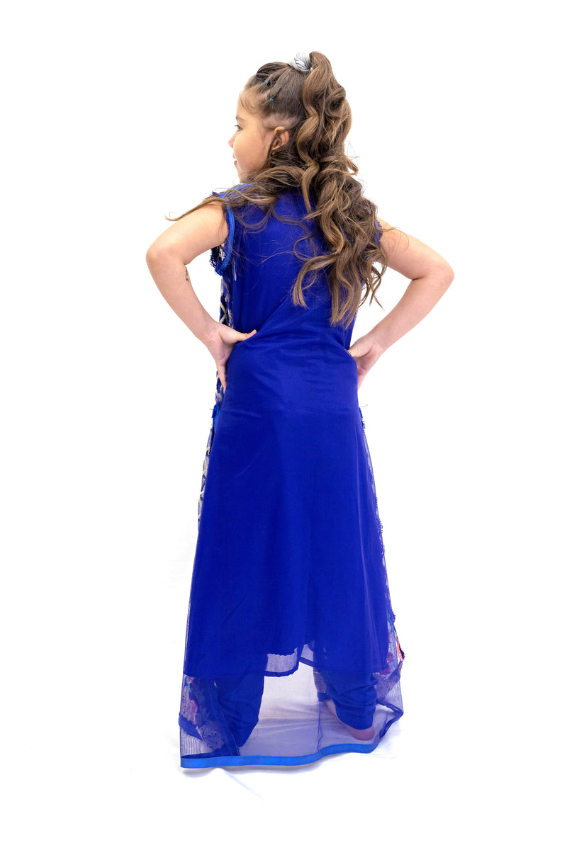 Royal Blue Chiffon Salwar Kameez - Girl's Suit - South Asian Fashion