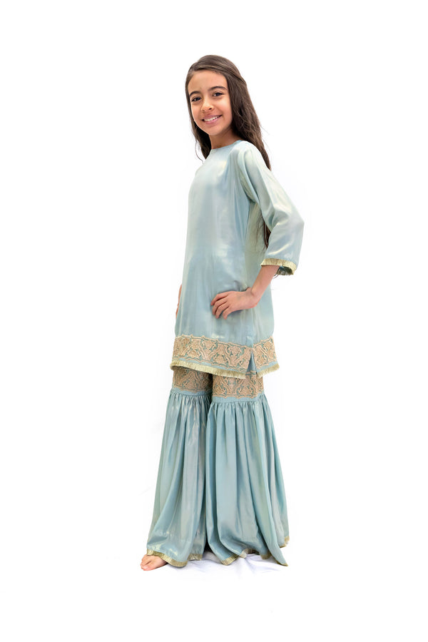 Baby Blue Salwar Kameez - Girls South Asian Formal Wear