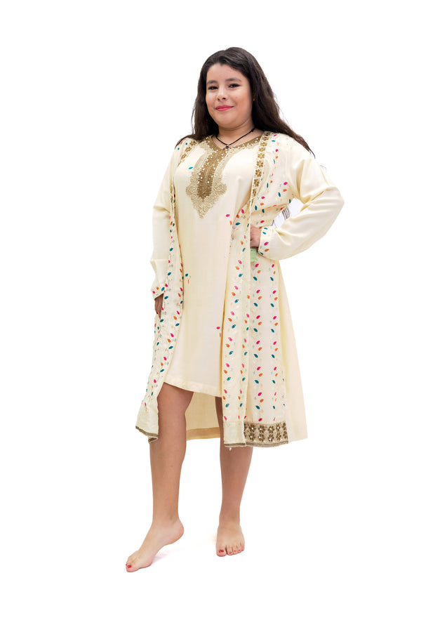 Creme Linen Kameez - Shirt - Women's South Asian Fashion