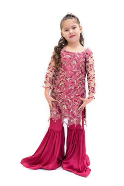 Net & Silk Magenta Salwar Kameez - Girls Suit - South Asian Fashion
