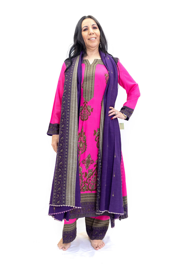Magenta Cotton Salwar Kameez - Nishaat Linen - South Asian Fashion