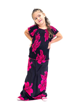 Black & Magenta Cotton Matching Set - Girls - Ethnic Wear