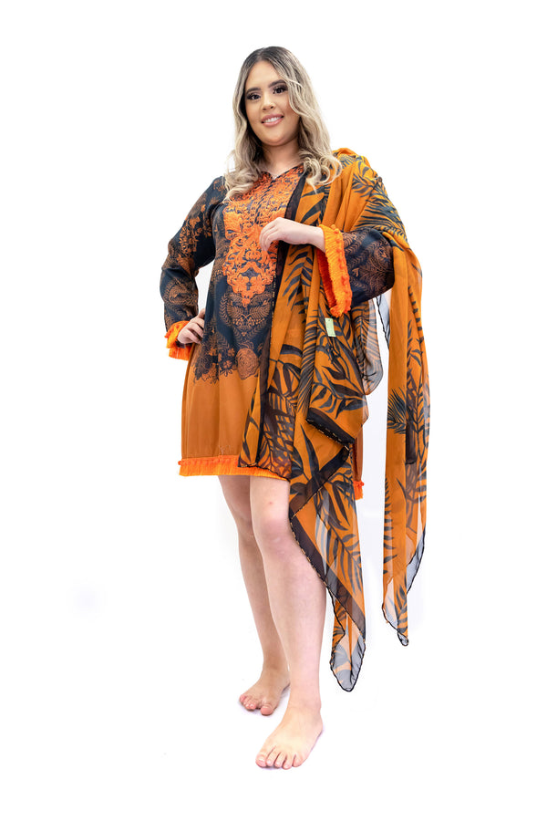 Black & Orange Cotton Kurti - Sana Safinaz - South Asian Fashion