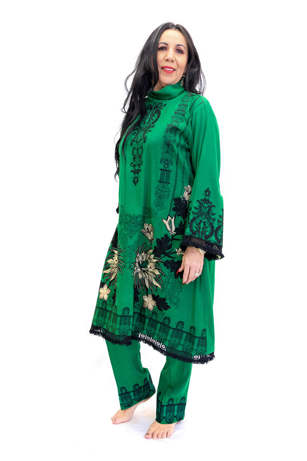 Forrest Green Cotton Salwar Kameez - Suit - South Asian Fashions