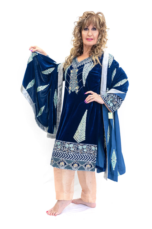 Blue Velvet Salwar Kameez - Designer Suit - South Asian Fashion