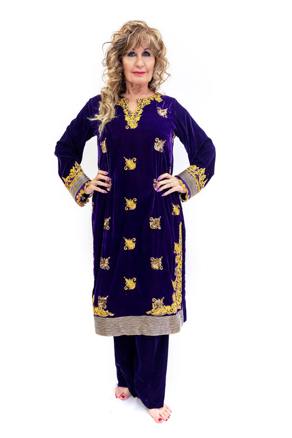 Purple & Gold Velvet Salwar Kameez - Suit - South Asian Fashion