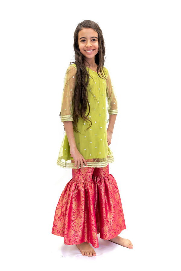 Net & Silk colorful Salwar Kameez - Girls Suit - South Asian Fashion